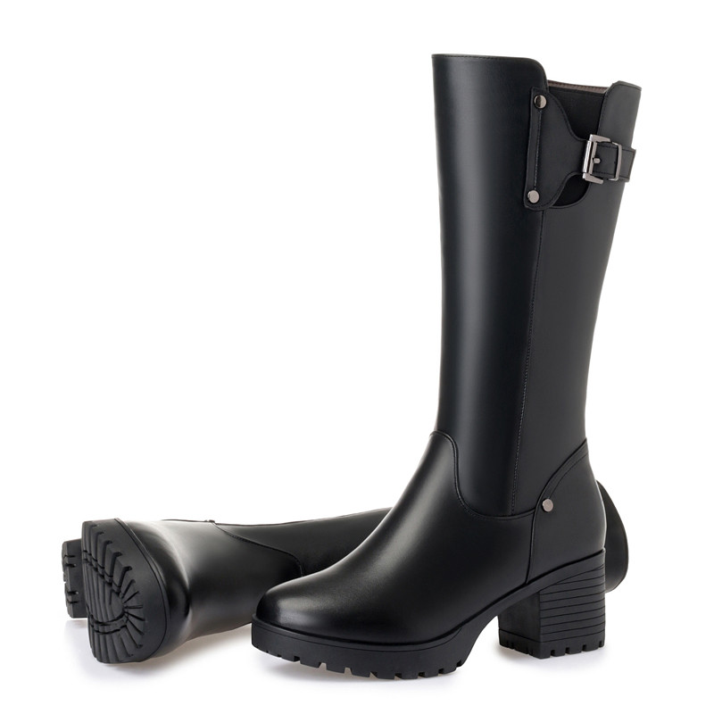 Asumer Schuhe Echtem Damen Knie Dicke Frauen Hohe Squre Schnee Schwarzes 2019 Stiefel Winter Wolle Leder Pelz Ferse Neue Mode rTwrqEg