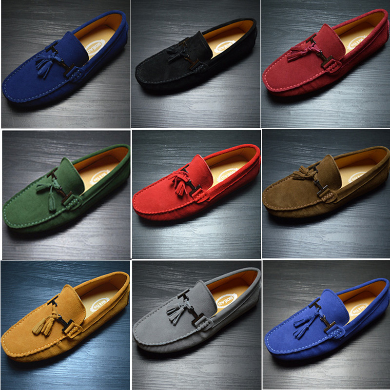 New Plus Size Summer Genuine Leather Men Shoes Fashion Suede Leather Men Casual Shoes Mens Loafers Soft Driving Shoes Moccasins klywoo handmade men leather shoes mens loafers summer autumn moccasins breathable mens shoes casual driving sapato masculino