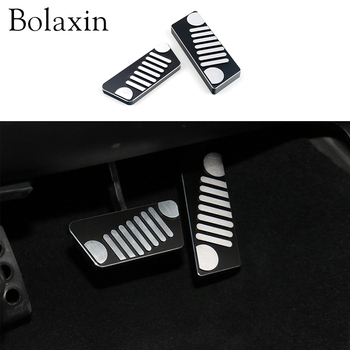 2 Pcs Bolaxin Car styling Interior Accessories  Aluminium Car Gas Pedal  Brake Pedal Anti Slip Black for Jp Wrangler 2007-2017
