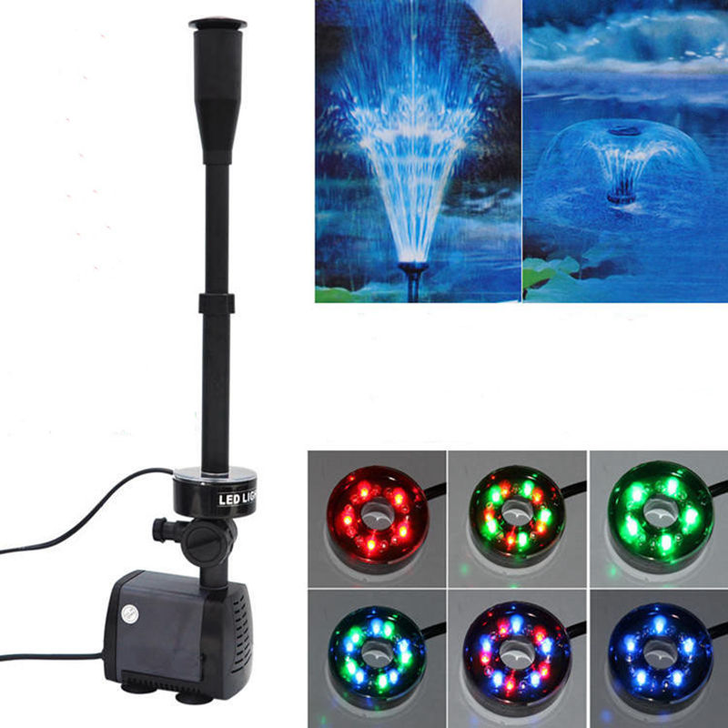 Nicrew 40w 2000l/h Aquarium Fish Pond Led Submersible Water Pump Garden Fountain Pump With Led Color Changing Fountain Maker