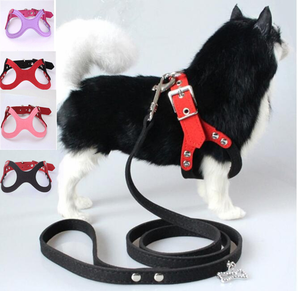 New pet dog harness soft leather dog harness+ leash cute glass pattern harness attaching strong leash S M L for different breeds