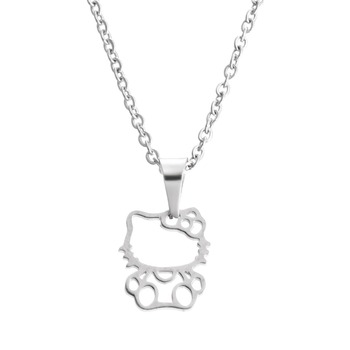 Everfast 1pc Fashion Stainless Steel Necklace,Cute Hollowed Kitty Cat Pendant Kids Girls Chokers Statement Necklace Lucky Girl