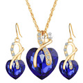 Women Red Green White Blue Crystal  Gold Plated Rhinestone Pendant Jewelry Sets For Wedding Bridal Party