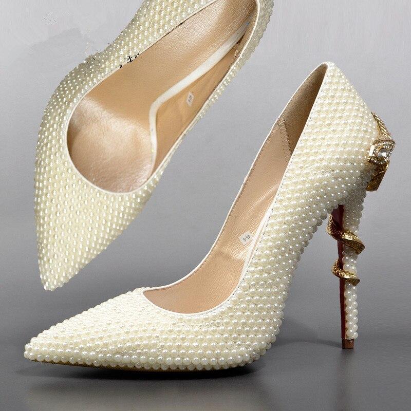 Aliexpress.com : Buy Fashion pearl wedding shoes Golden snake ...