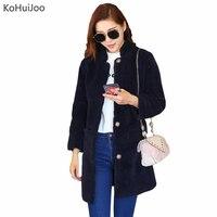KoHuiJoo S-5XL Mujeres Cashmere Coat Pockets Sólido Medio-Largo Ovejas Abrigos Señora Chaquetas de Lana Elegante Más Tamaño Outwear Caliente