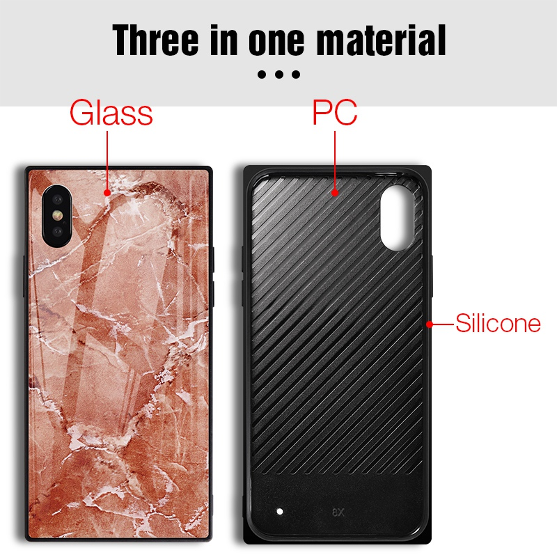 TOMKAS Black Luxury Marble Phone Case for iPhone 6 6s X Xs Glass Back Cover Case for iPhone 7 8 Plus Silicone Square Shockproof  (4)