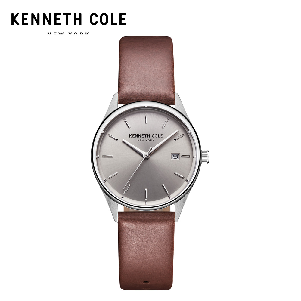 Kenneth Cole Women Watches Quartz Brown Black Leather Strap Simple Luxury Brand Waterproof Genuine Watches For Women цена и фото