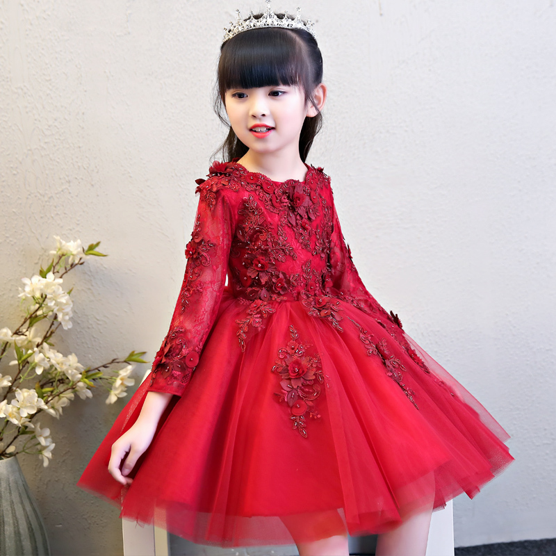 Glizt Girls Red Wedding Dresses Long Sleeve Bead Appliques