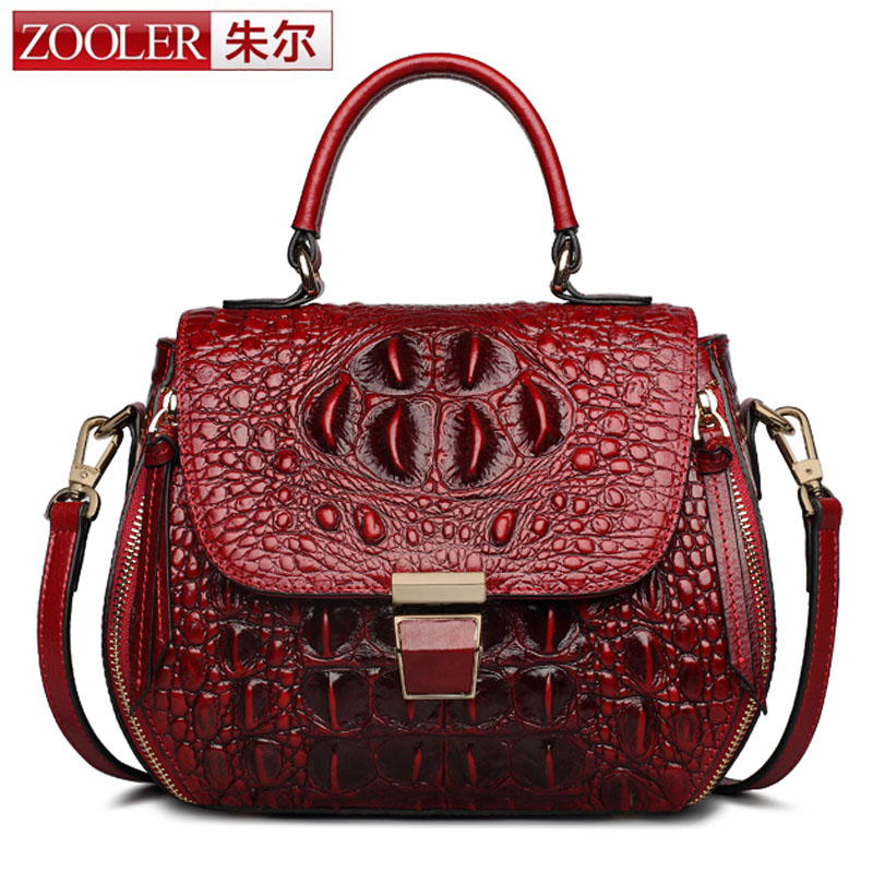 ZOOLER New Genuine Leather Crocodile Style Messenger Bags for Women Crossbody Shoulder Bag Cowhide Female Package Luxury Handbag 2018 yuanyu 2016 new women crocodile bag women clutches leather bag female crocodile grain long hand bag