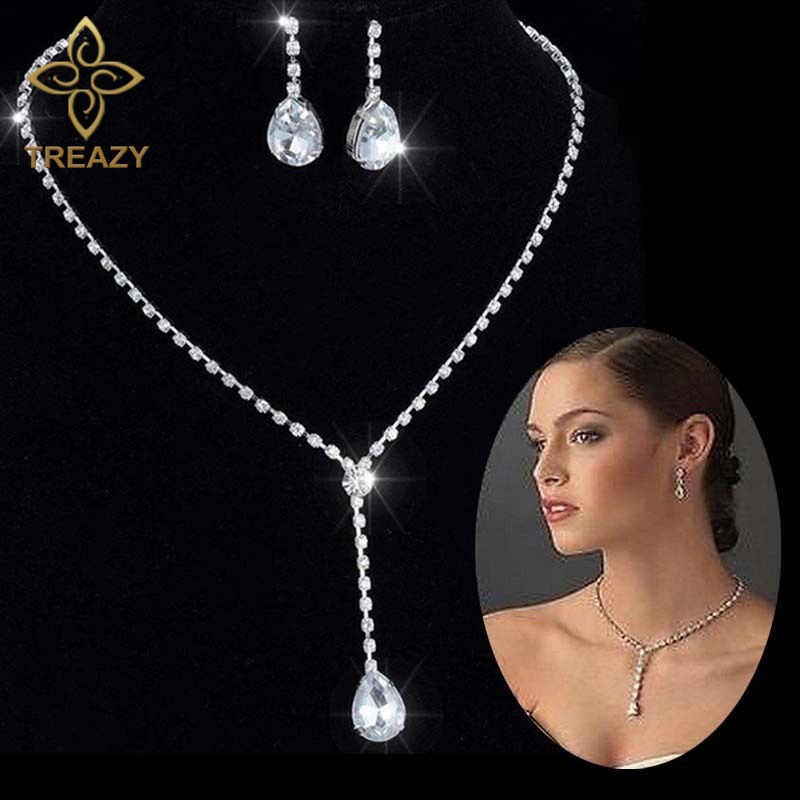 TREAZY Celebrity Inspired Style Crystal Teardrop Long Necklace Earrings Set Silver Color Wedding Bridal Bridesmaid Jewelry Set