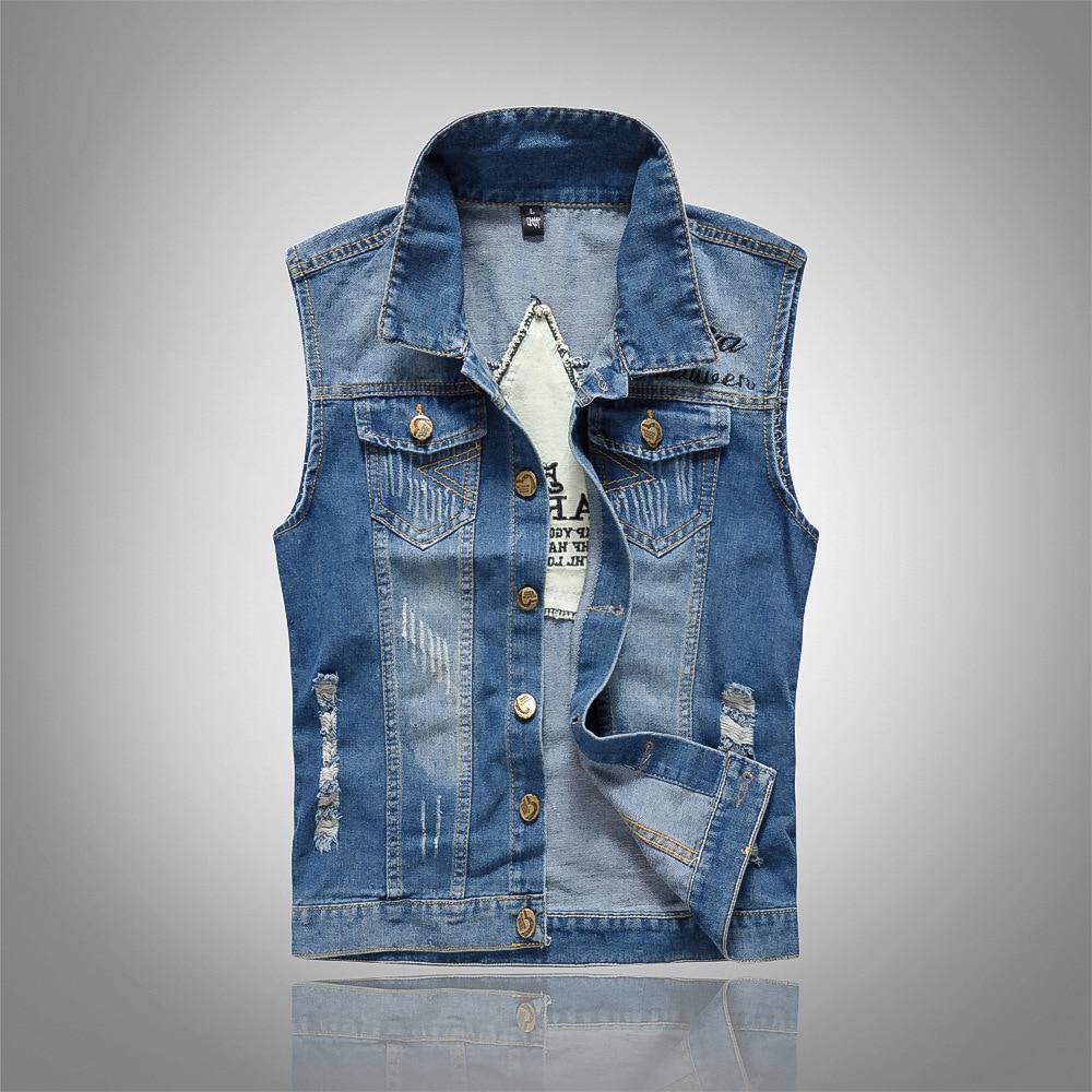 5 Colors Mens Denim Vest 2018 New Brand Jeans Vests Men Slim Fit Sleeveless Jacket Patchwork Waistcoat Gliet Men Plus Size M-5XL