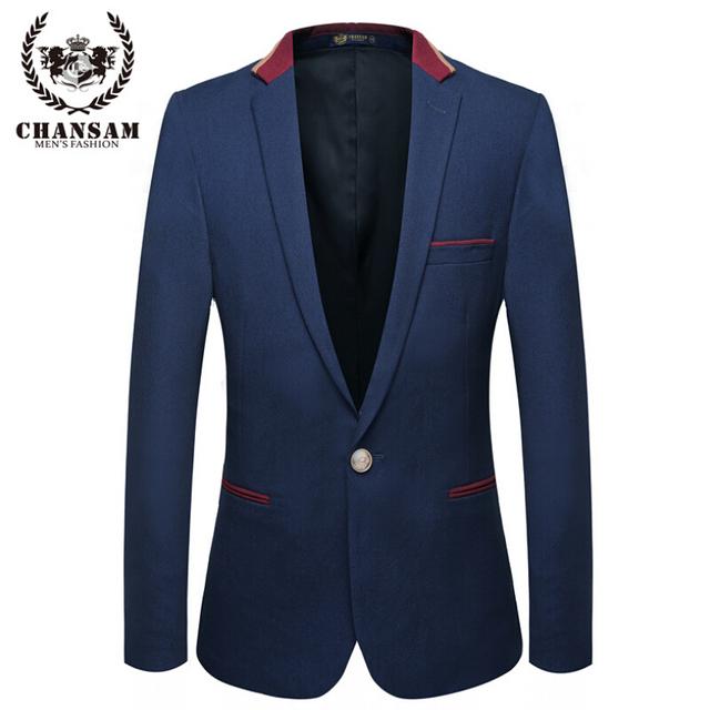 De alta calidad de Marca de Moda Azul Hombres de la Chaqueta 2016 Otoño de Los Hombres Ocasionales Chaqueta de traje de Empalme de los Hombres Trajes Slim Fit Un Botón Traje de Los Hombres