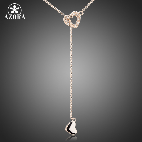 AZORA Heart Linked To Heart Rose Gold Color Stellux Austrian Crystal Jewelry Pendant Necklace TN0082 yoursfs love you forever white gold plated heart in circle pendant necklace with austrian crystal open heart silver necklace wo