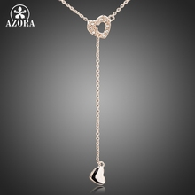 AZORA Heart Linked To Heart Rose Gold Color Stellux Austrian Crystal Jewelry Pendant Necklace TN0082
