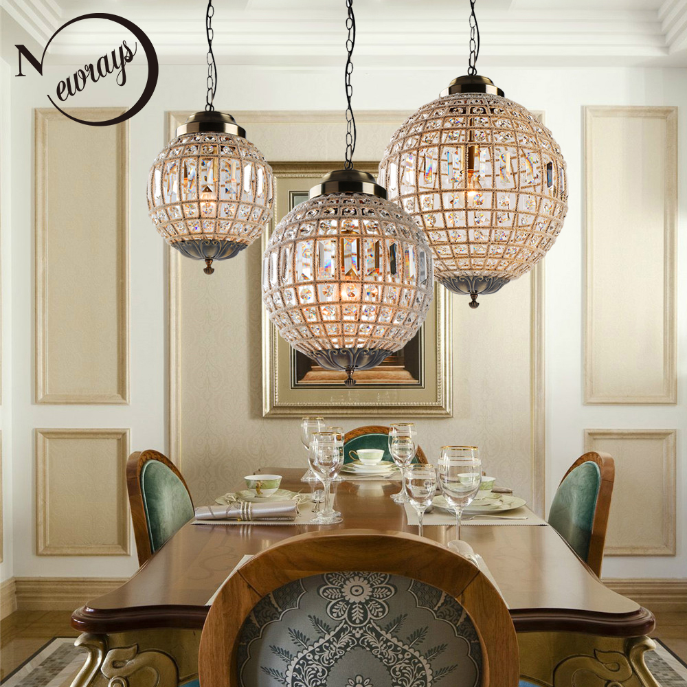 Lustre lampe moderne en cristal Led, grand cristal de Style Royal Empire rétro Lustres lumières E27 pour la salle de bains de la chambre à coucher du salon