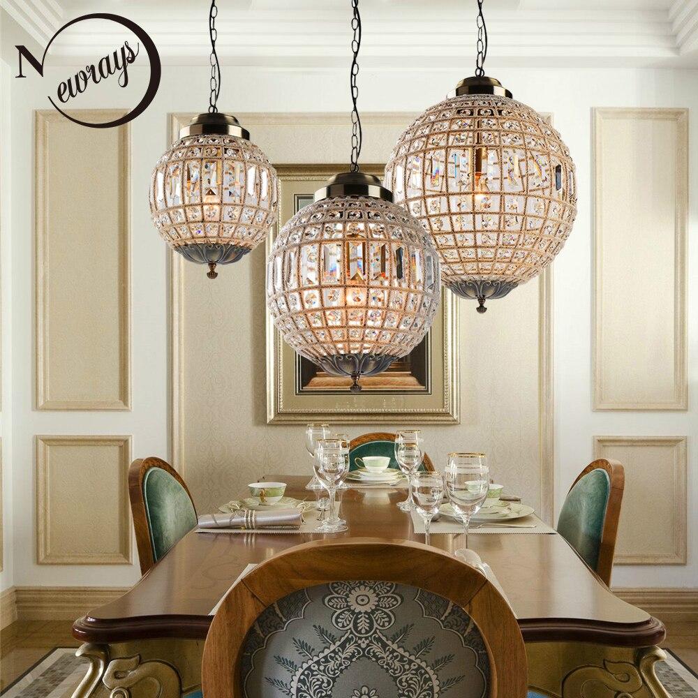 Retro Vintage Royal Empire estilo de bola grande Led de cristal moderna lámpara de araña luces E27 para sala de estar dormitorio Baño