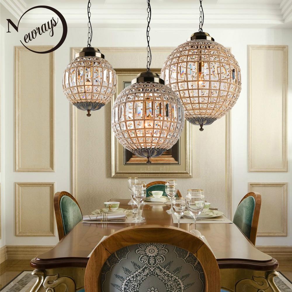 Retro do vintage royal empire bola estilo grande led de cristal moderna lâmpada lustre lustres luzes e27 para sala estar quarto banheiro