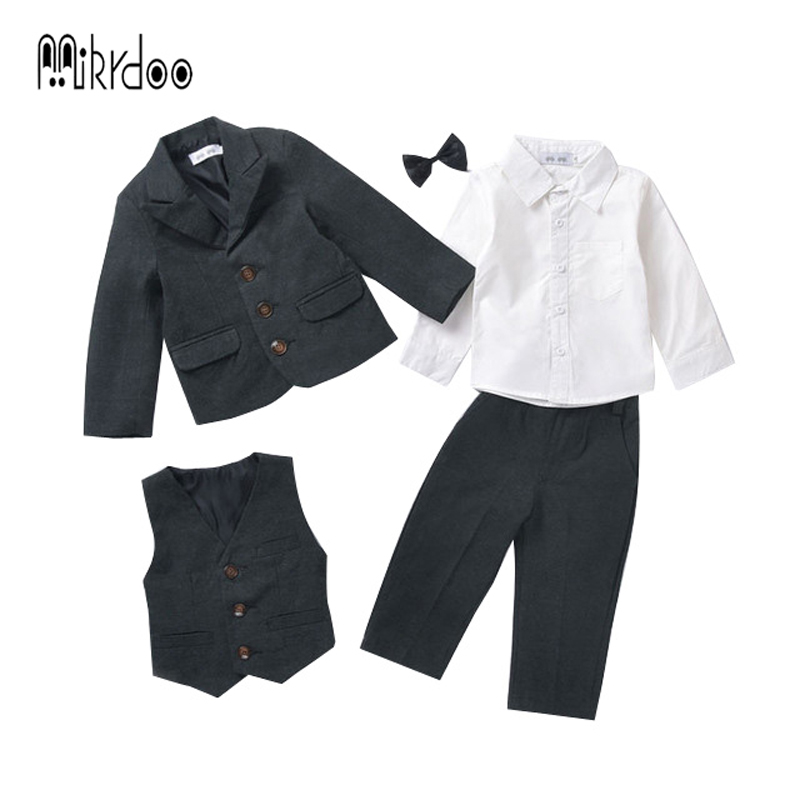 Baby boy clothes blazers tuexdo terno formal suit kids clothing set wedding gentleman coat shirt vest pants bow tie costume best kids clothing set plaid shirt with grey vest gentleman baby clothes with bow and casual pants 3pcs set for newborn clothes