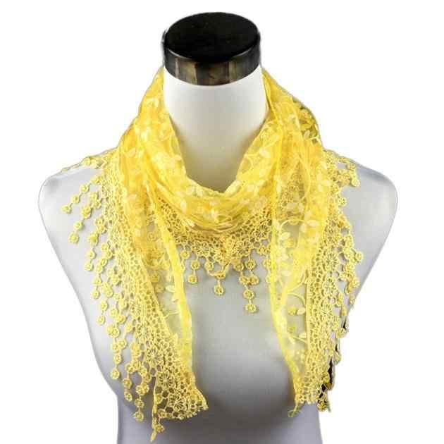 Bufanda nueva moda de alta calidad borla de encaje pura Burntout estampado Floral triángulo Mantilla chal bufanda marca de lujo