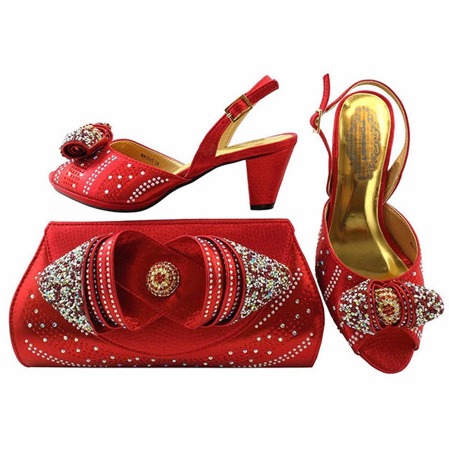 New Red Color Ladies Italian Shoes and Bag Set Decorated with Rhinestone Shoe and Bag Set for Party In Women Shoes and Bag Set
