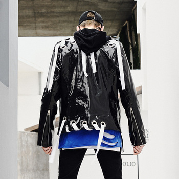 Men autumn winter bright leather hip hop punk jacket nightclub singer stage costume men biker motercycle PU leather jackets coat