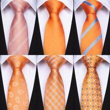 DiBanGu pomarańczowe paski stałe Paisley pledy moda męska krawat z Hanky spinki jedwabne krawaty dla mężczyzn krawaty na wesele