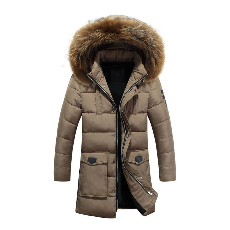 Winter Brand Men Thick Warm Casual Fur Collar Hood Jacket Cotton Coat Windproof Outwear Parkas Streetwear