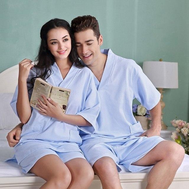 Новый 100% чистый Хлопок материал обычный цвет халаты халат Унисекс плюс размер пижамы сауна одежда набор вафельных ночная сорочка Пижамы