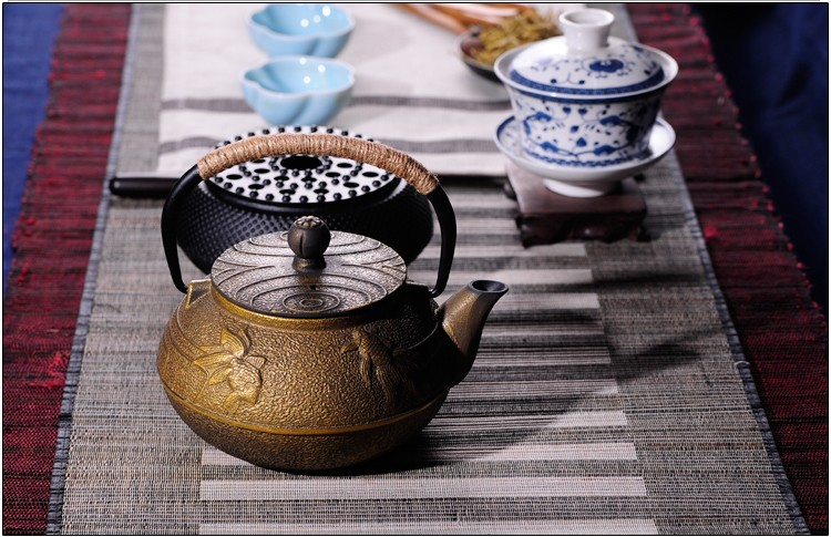 New 7 Chioces Cast Iron Teapot Set Japanese Tea Pot Tetsubin Kettle Enamel 900ml Kung Fu Infusers Metal Net Filter Cooking Tools 21