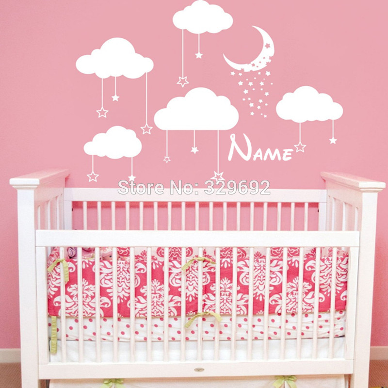 Personalized name Cloud Wall Decal Stars and Moon Vinyl Wall Sticker Art Home Decor Mural Clouds Nursery Children Bedroom Decor