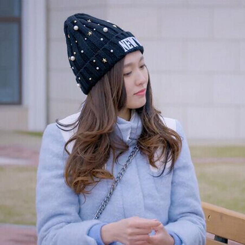 1 Pcs 2015 Hot Sell Embroidery Letters NEWYORK Knitted Cap Diamond Pearl Hats For Women Skullies Beanies 6 Colors Free Shipping