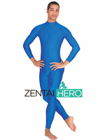 Free Shipping DHL Sexy Adult Lycra Spandex Bodysuit Blue Long Sleeve Unitard Zentai Suits LL1002