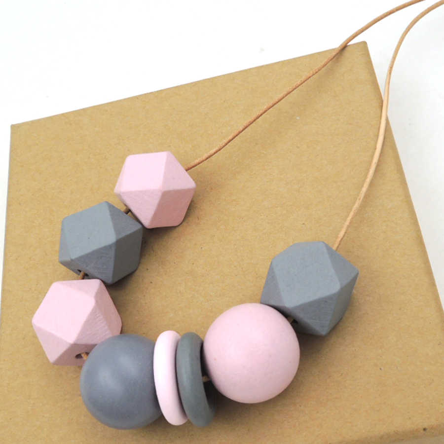 Hand painted GREY PINK necklace with Geometric Beaded wood pendant gift chunky statement ball NW396