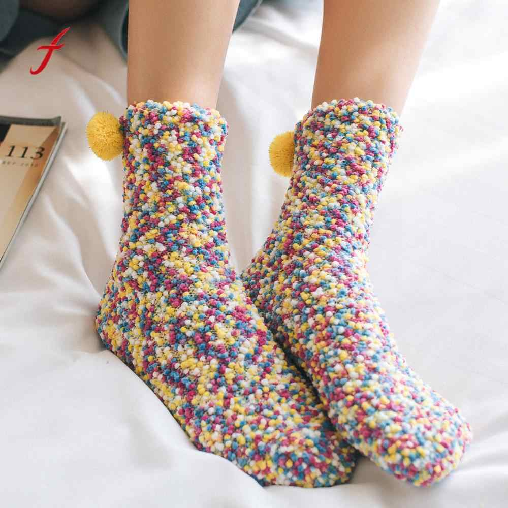 Fashion socks Women Cotton funny socks Thicker Anti-slip Coral fleece Floor Carpet Socks calcetines mujer