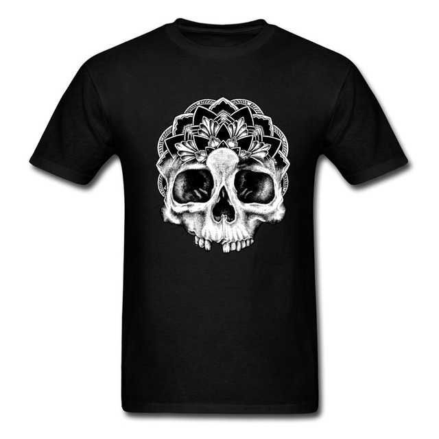 Mandala Skull T Shirt For Adult Casual Summer Tees Short Sleeve 2018 New Birthday Tee
