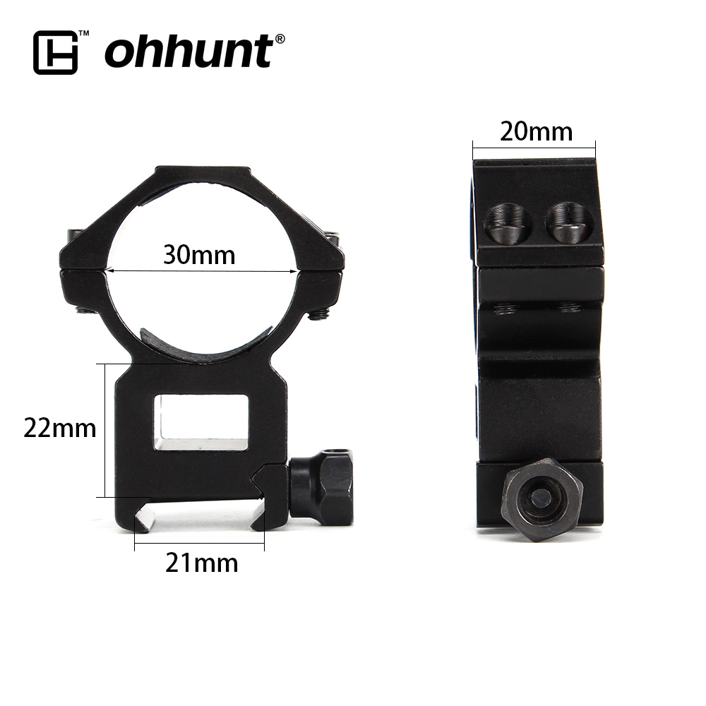 ohhunt 2PCs Tactical 30mm Picatinny Weaver Rail Base High Profile Scope Mount Rings for Hunting Riflescope Rifle Accessories(China)