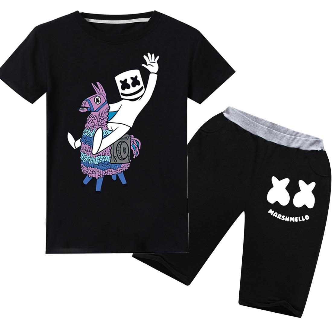 2PC DJ Marshmello Girls Boys Short Sleeve T-Shirt Kids Cotton Tops Clothes Pants
