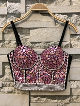 女王ラインストーンビーズビスチェ真珠ダイヤモンドプッシュアップナイトクラブ Bralette 女性のブラのクロップドトッププラスサイズ