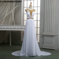 Sexy Illusion Hals Gold Crystal Prom Dress 2018 Lange Witte Chiffon Elegante Prom Jassen
