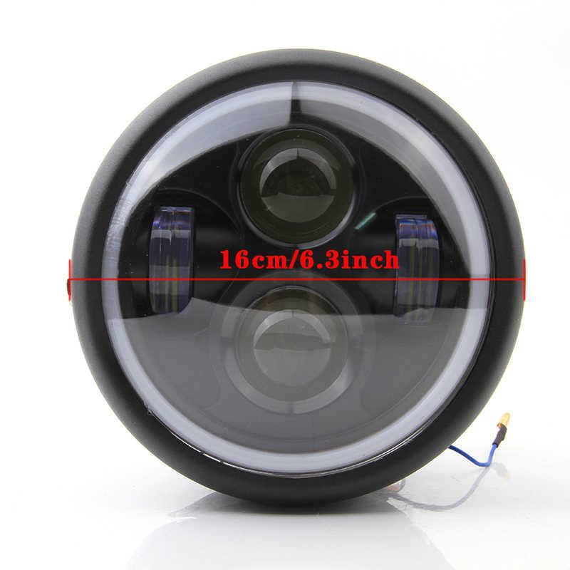 רטרו 6.5 LED פנס אופנוע פנס סוגר מלאך טבעת היי & Lo קרן הנורה להארלי Sportster קפה רייסר Bobber