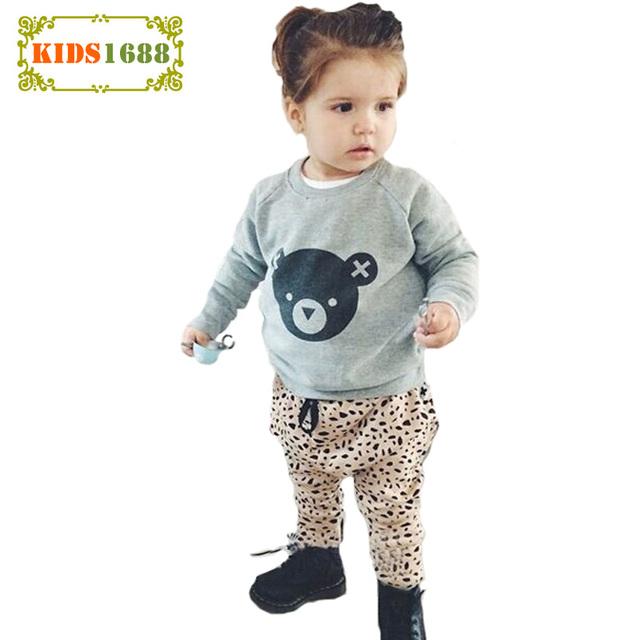 2017 de La Muchacha Ropa Niños Set Primavera Kawaii Oso de Impresión t-shirt + Pants 2 unids Los Cabritos de Los Muchachos otoño de manga larga Conjunto de Ropa de Bebé