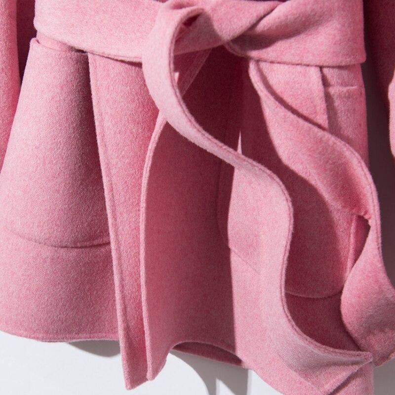 Populaire Casual Multi blue Manteaux Manteau 2018 Haut V Femmes pink Grade Hiver Femelle Laine Mode En Col couleur Beige Jech camel Courte xY6z7P
