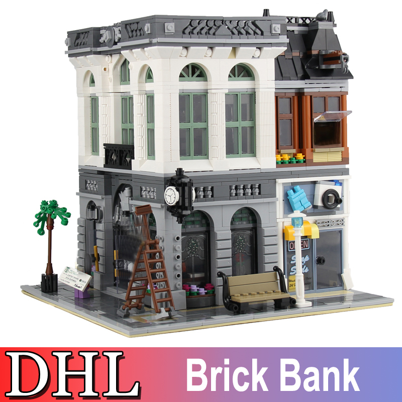 2018 New 2413Pcs City Street Figures Brick Bank Model Building Kits Blocks Bricks Toys For Children Gift Compatible With 10251 2017 hot sale girls city dream house building brick blocks sets gift toys for children compatible with lepine friends