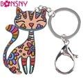 Newei Cat Keychain New 2016 Acrylic Pattern Charm Cute Animal Fashion Jewelry For Women  Accessories