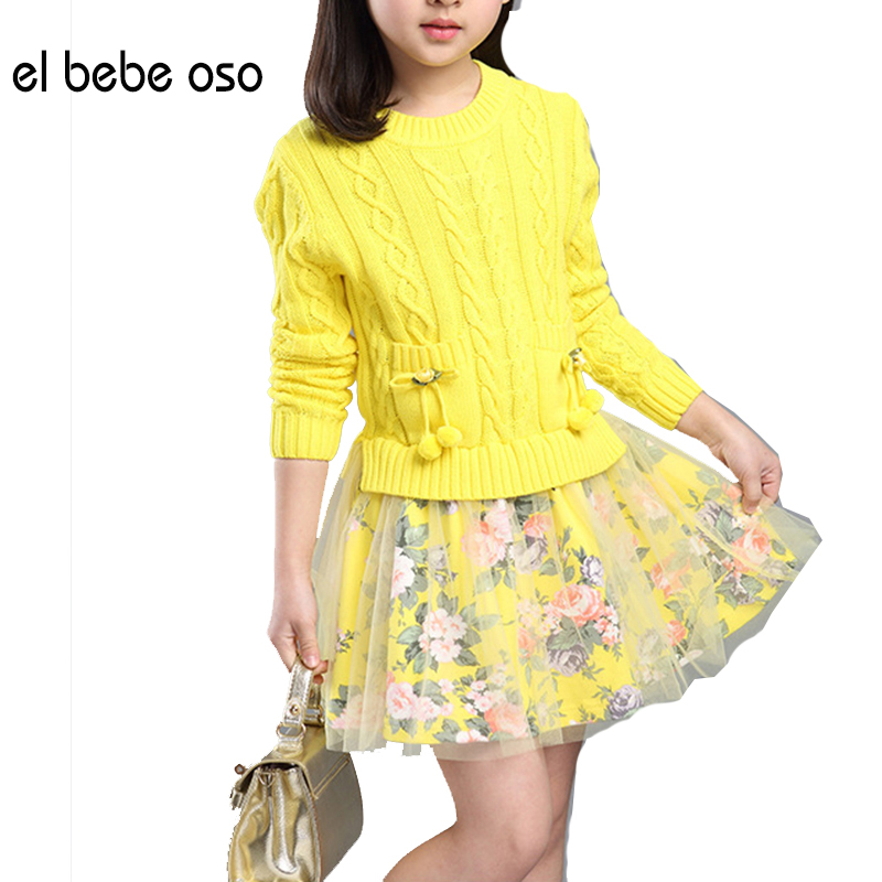 el bebe oso Autumn Winter New Arrival Big Girls Sweater Long Sleeve Sweater+ Floral Skirt Suits Kids Cotton Clothes Set XL551 christmas big girls outfit set fall winter red black cotton knit skirt sets long sleeve sweater skirts 2 pcs kids clothing suits
