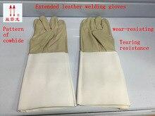 Высокое качество долго стиль сварочные перчатки безопасности защитные износостойкости Высокая термостойкость холст рабочие перчатки