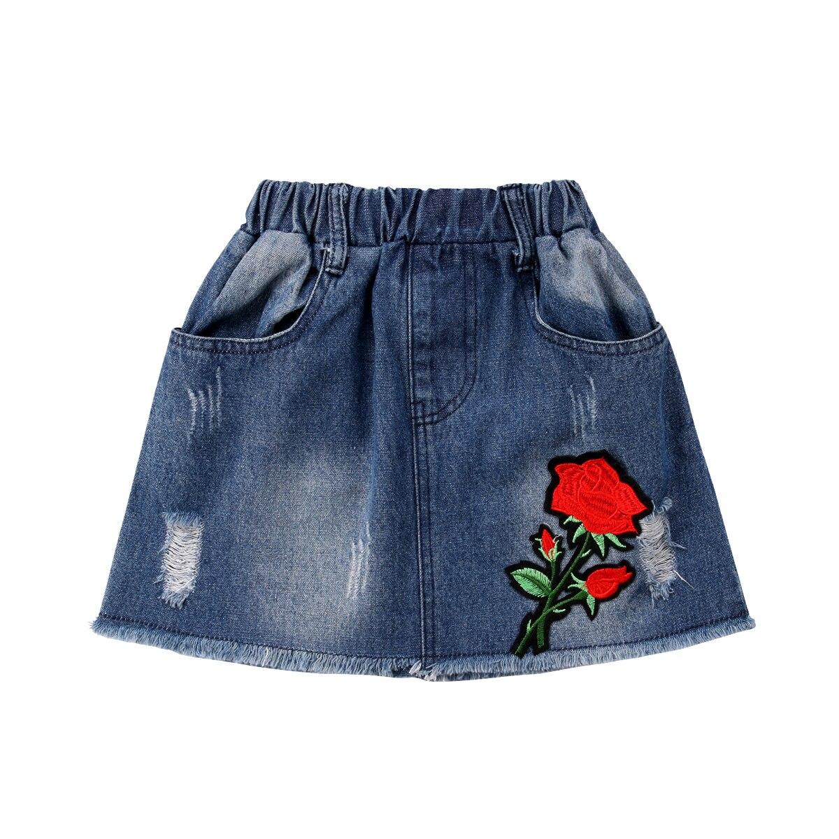db302da9114c Kids Baby Girl Clothing Skirts Denim Ripped Short Summer Casual Elastic  Waist Jeans Summer Skirts Girl