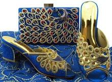 Wonderful royal blue slip on pump shoes with handbag set colorful stones sandals and bag BL005