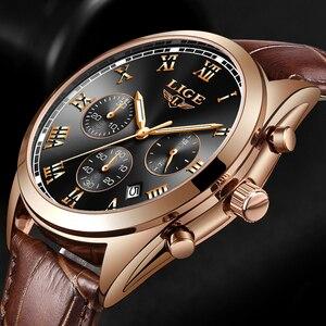 Image 3 - LIGE relojes para hombre, resistente al agua, con fecha de 24 horas, de cuarzo, reloj de pulsera deportivo de cuero, Masculino, 2020