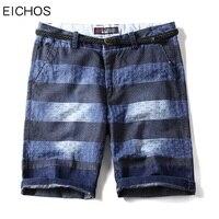 EICHOS 2018 Mens Denim Shorts Fashion Striped Straight Jeans Shorts Men 100 Pure Cotton Blue Knee
